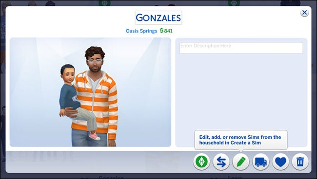 "A household showing a male character holding a little boy character in ""The Sims 4."""