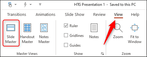 Slide master option in view tab