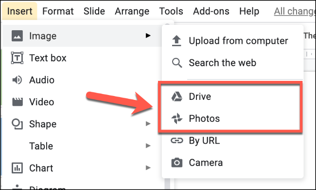"Choose ""Photos"" to upload an image from your Google Photos or ""Drive"" to upload an image from your Google Drive storage"