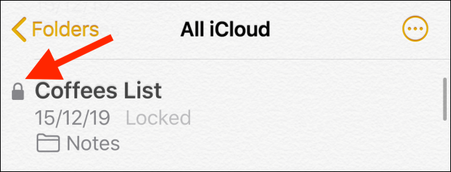 Spot the lock button next to a note