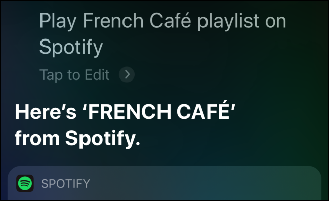 Spotify paying the playlist in Siri