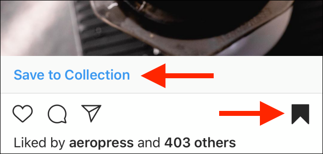 Tap and hold the Save button to save to collection