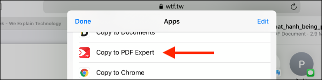 Tap on Copy to PDF Expert option