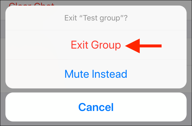 "Tap ""Exit Group"" again in the popup."
