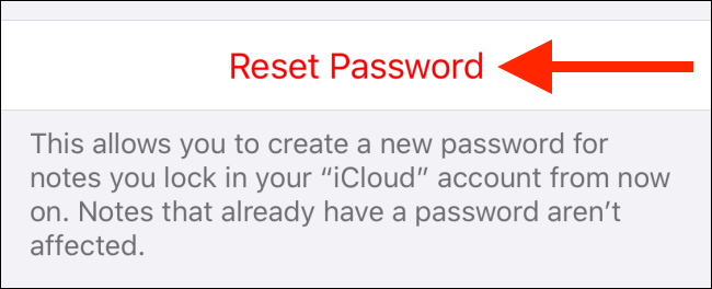 Tap Reset Password