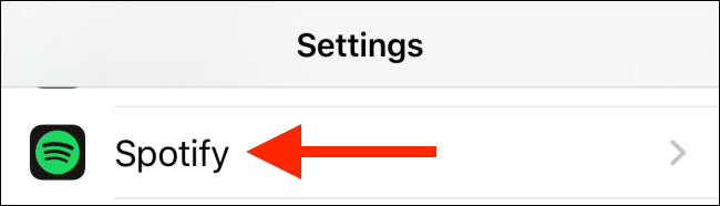 Tap Spotify from Settings