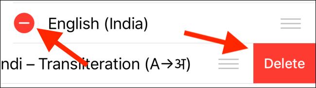 Tap the Delete button to remove a language