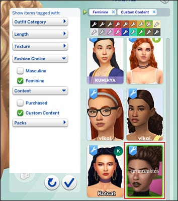 The Hair section of Create a Household