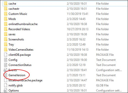 """The Sims 4"" GameVersion text file in a ""The Sims 4"" folder."
