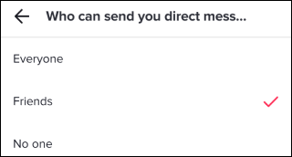 """The """"Who Can Send You Direct Messages"""" menu."""