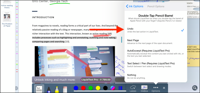 LiquidText lets you turn the double-tap action into an Undo button, which can be really handy when you're annotating and taking notes in the app.