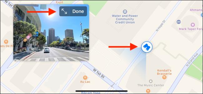 Use the Binoculars icon to follow around the street view