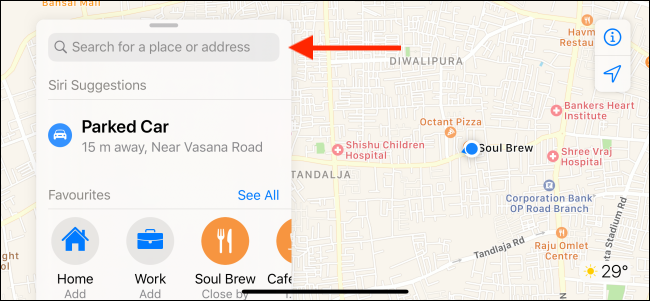 Use the search bar to search for a place in Apple Maps