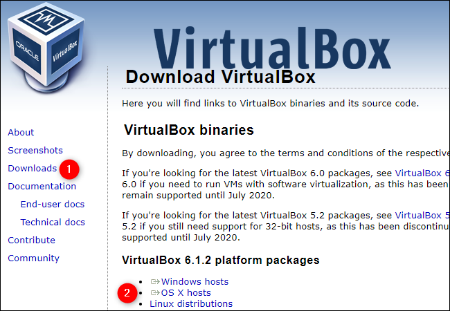 """Click """"Downloads"""" and """"OS X Hosts"""" on the VirtualBox website."""