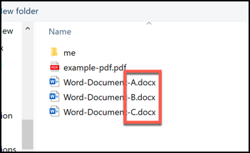 A selection of Word documents, ordered by letters A, B and C