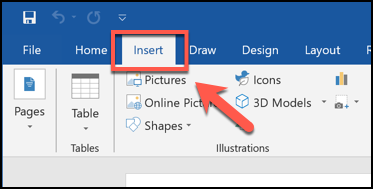 Click the Insert tab in Microsoft Word