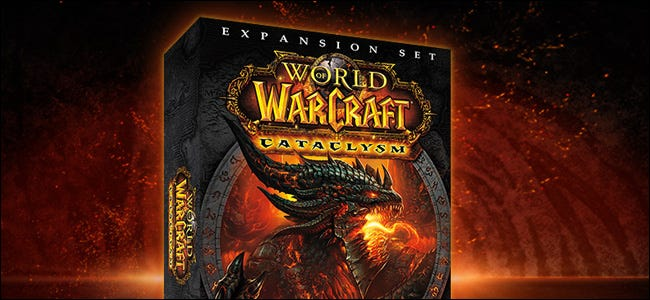"The ""World of Warcraft: Cataclysm"" online expansion set box."