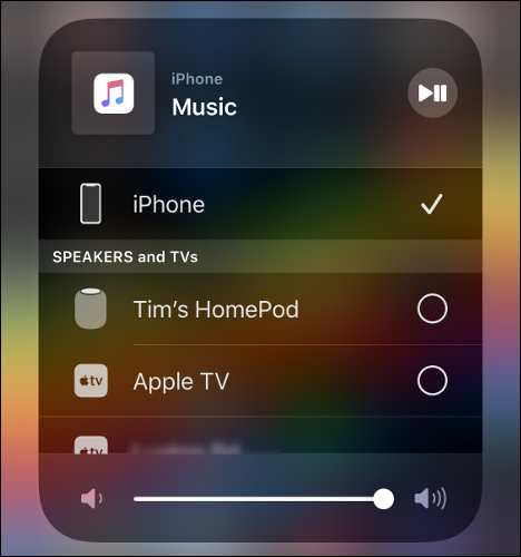 AirPlay Devices in Control Center.
