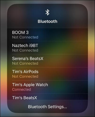 """The """"Bluetooth"""" menu in Control Center."""