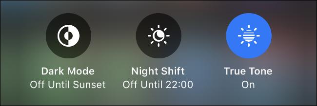 "The ""Dark Mode,"" ""Night Shift,"" and ""True Tone"" icons."