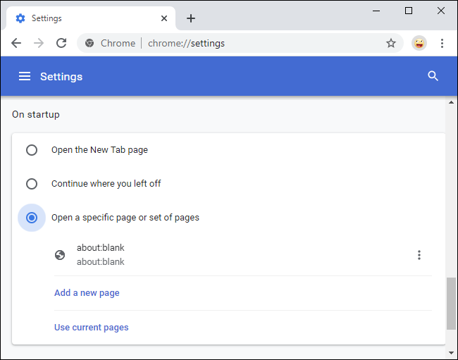 Removing about:blank home page from Chrome