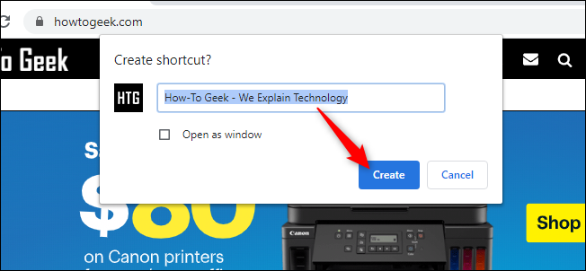 Creating a Shortcut in Chrome