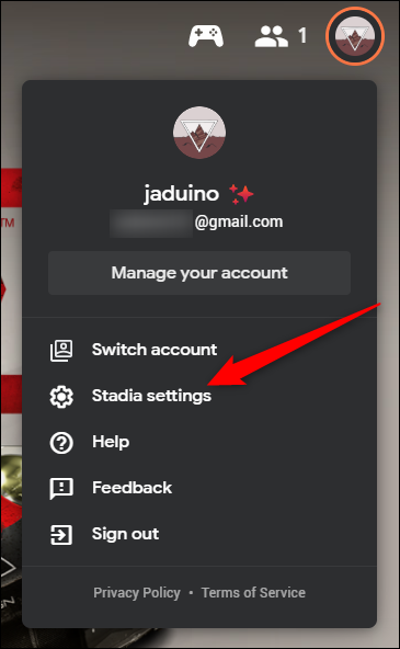 "Click the ""Stadia Settings"" Option"