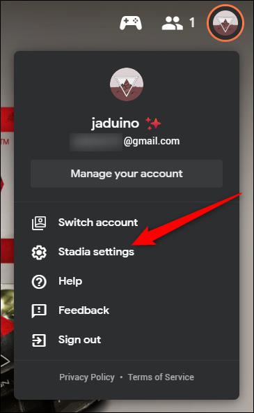 "Click the ""Stadia Settings"" Option"