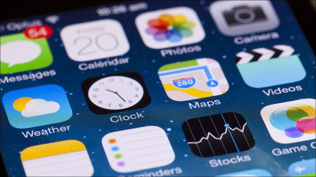 Close-up image of an iPhone's home screen and apps