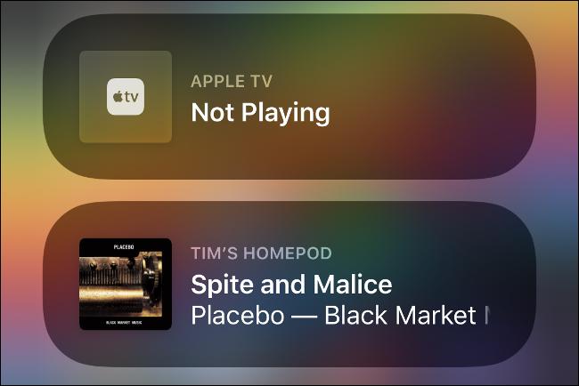 Thiết bị Apple Media trong Trung tâm điều khiển.