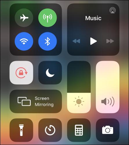 Control Center on iOS.
