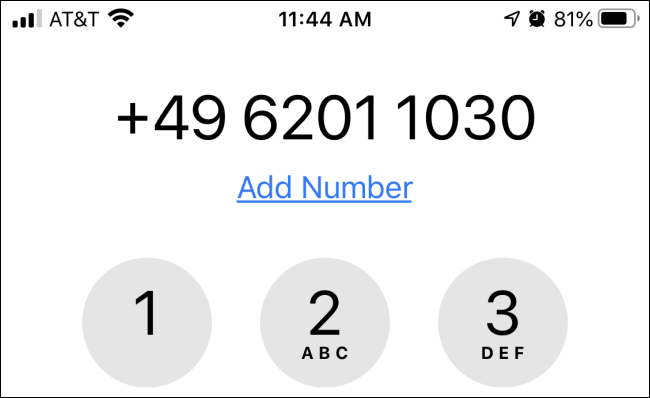 Enter the phone number on the keypad