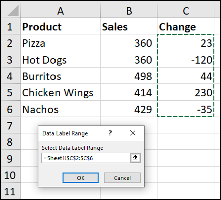 Select the cell range to show in data labels