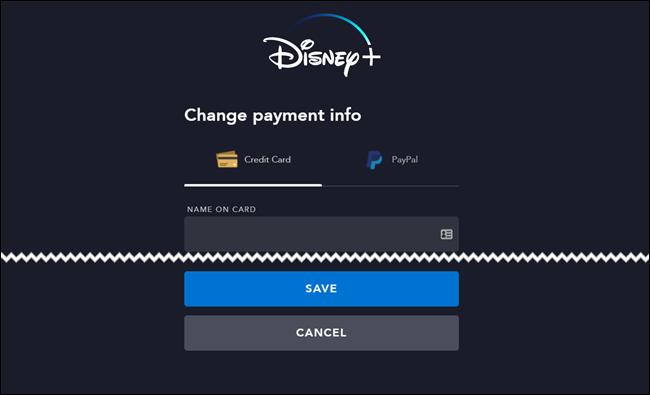 Página de facturación de Disney +
