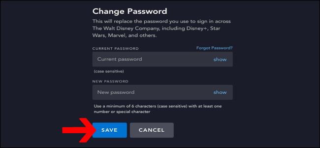 Disney+ Save Password