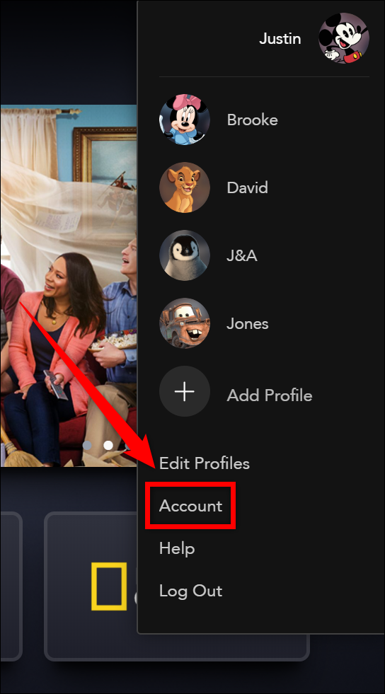 """Disney+ Select the """"Account"""" Button"""
