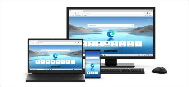 Edge browsers running on a desktop PC, laptop, and smartphone.