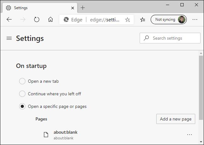 Eliminando about: blank de las nuevas páginas de inicio de Microsoft Edge