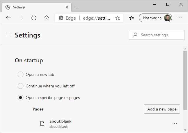 Removing about:blank from the new Microsoft Edge's startup pages