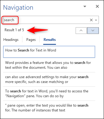 enter a word in the search box