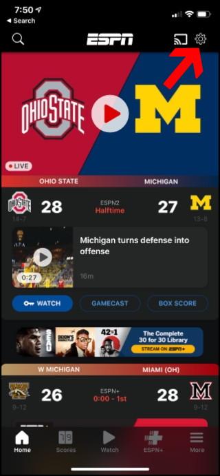 Página de inicio de ESPN