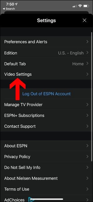 ESPN Settings