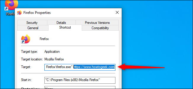 Direct Firefox Shortcut to Specific Website