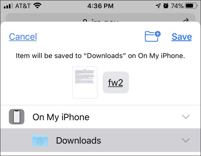 Saving a PDF file to Files on iPhone