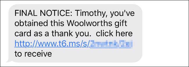 """Una estafa por mensaje de texto para el ganador de una """"Tarjeta de regalo"""" con muchos errores gramaticales."""