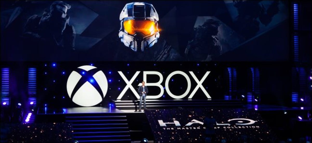 Microsoft unveiling Halo: The Master Chief Collection on an Xbox stage.