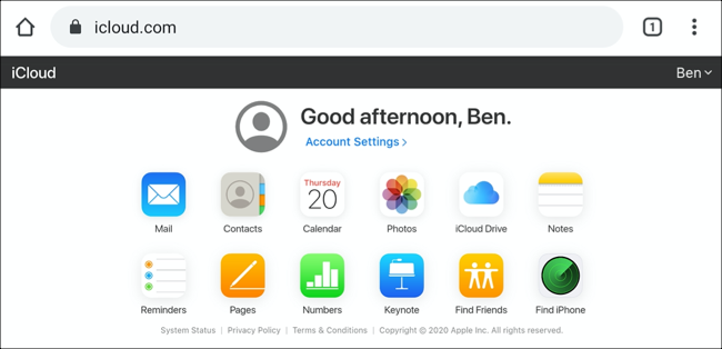 The iCloud dashboard on Android, shown in Desktop view mode
