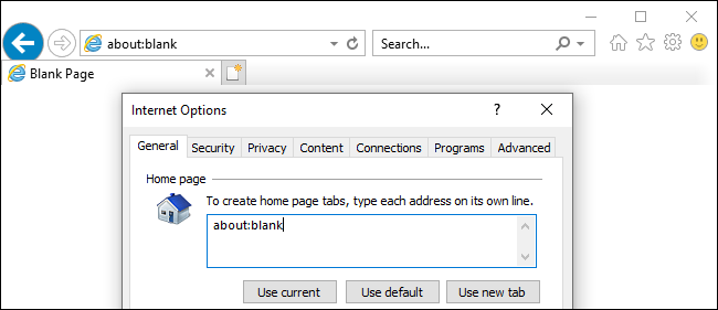 Stopping Internet Explorer from opening with about:blank