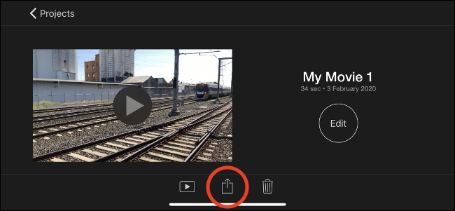 Tap the Share button to export your video.
