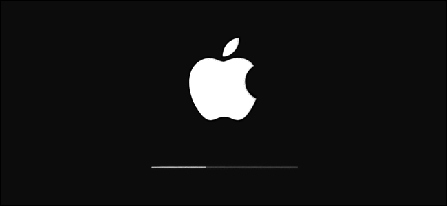 The Apple logo and update progress bar in iOS.